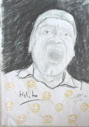 """""""Um Grito, Helito"""", Justino, impressão digital de desenho a carvão e lápis, 2017."""