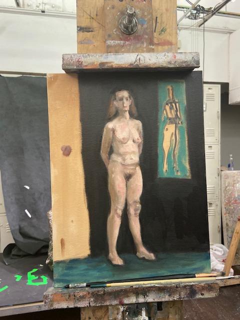 """Fotografia de """"Nu Realsita com Abstração de Max Ginsberg"""", Justino, óleo eum painel, 2019."""