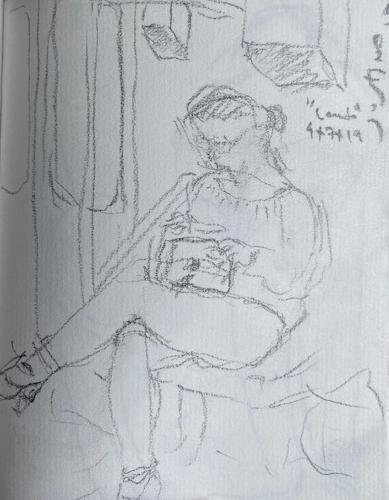 No metrô - 12, Justino, desenho a caneta, 2019.