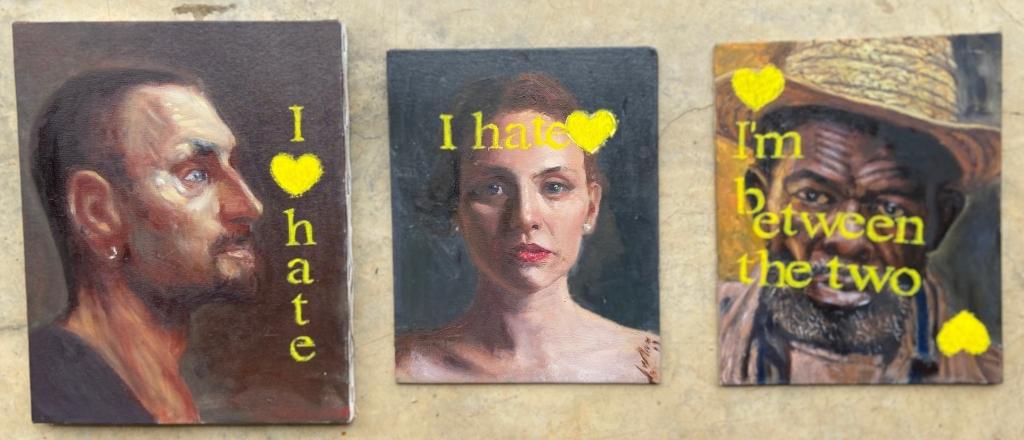 Retratos Contemporâneos - 3 a 5, Justino, óleo em tela e canvas board, 2019.