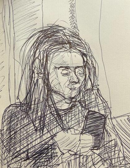 No metrô - 5, Justino, desenho a caneta preta, 2020.