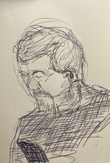No metrô - 6, Justino, desenho a lápis, 2020.