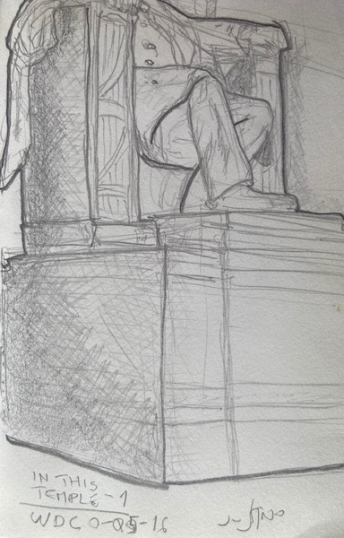 In This Temple - ALTERNATIVO - WDC, Justino, caneta em guardanapo, 2016.