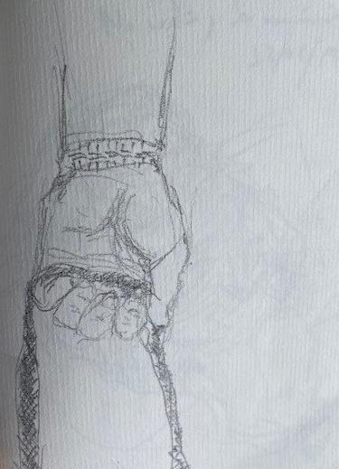 No metrô - 13, Justino, desenho a caneta, 2019.
