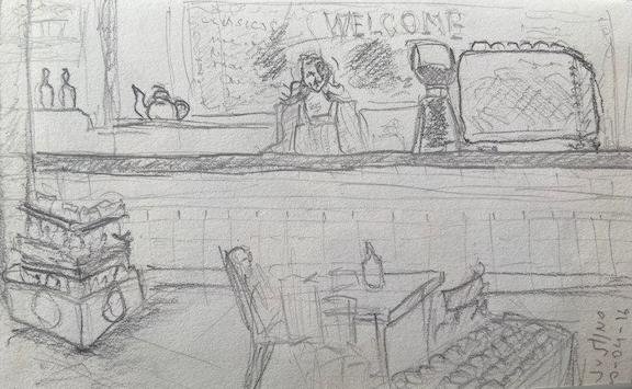 Um bar - Montevidéu, Justino, lápis nº2, 2016.