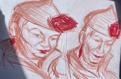 Dama de Ouros: Variações 2, Justino, grafite e china marker, 2020.