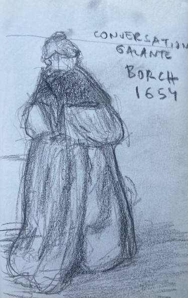 Borch, 1654 (visto no Louvre), Justino, lápis grafite, 2017.