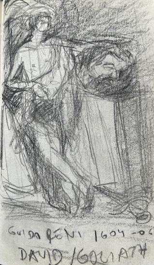 Guido Reni,. David e Golias, Louvre, Justino, lápis, 2017.