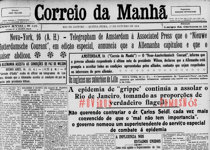 OVirusCorreioDaManhã1918 , Justino, 2020.
