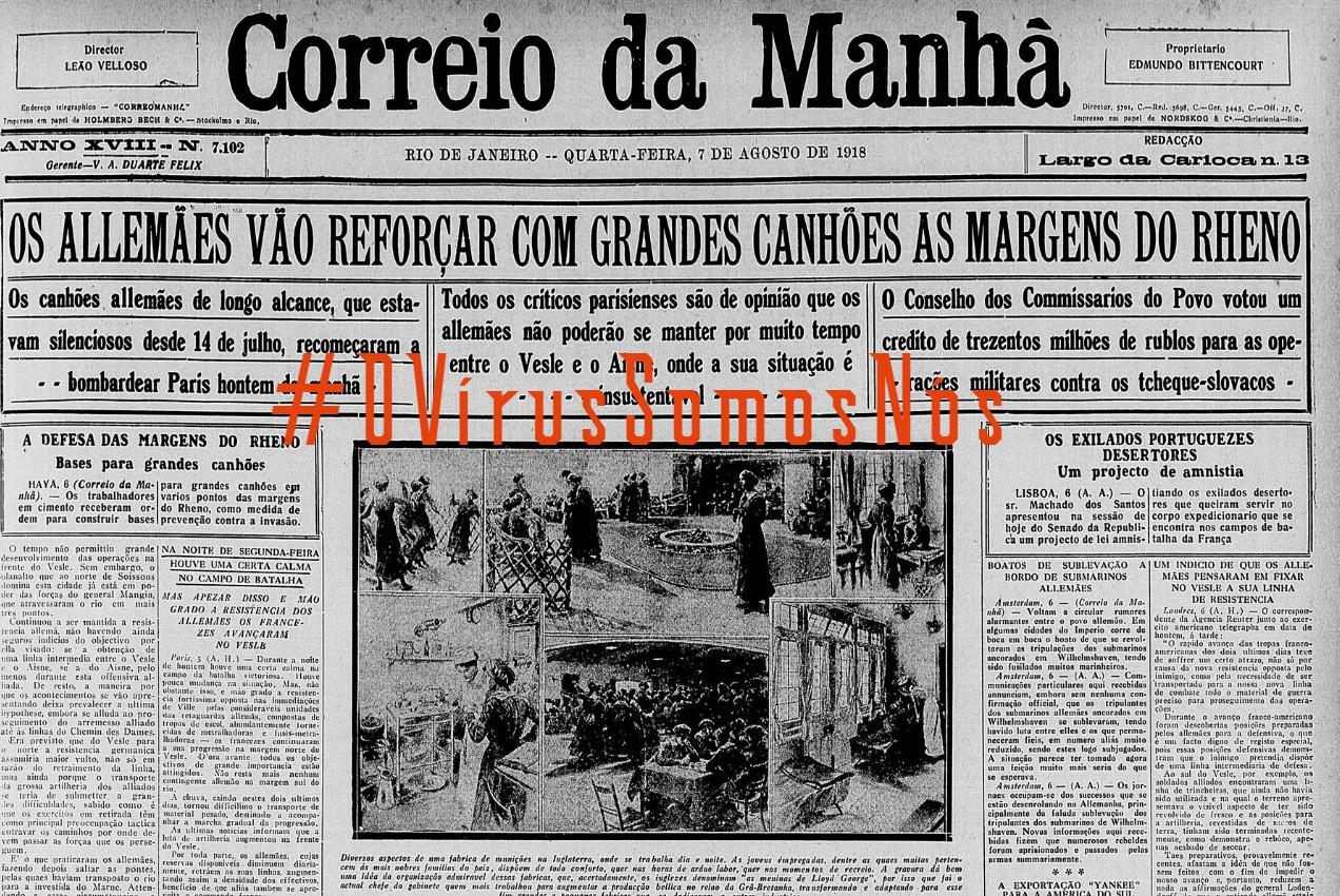 OVirusCorreiodaManhã1918, Justino, 2020.