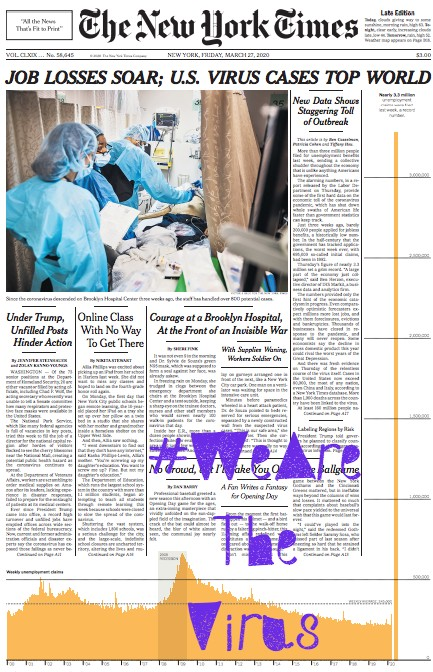 #WeAreTheVirus : NYT's JOB LOSSES SOAR (perda de empregos dispara)