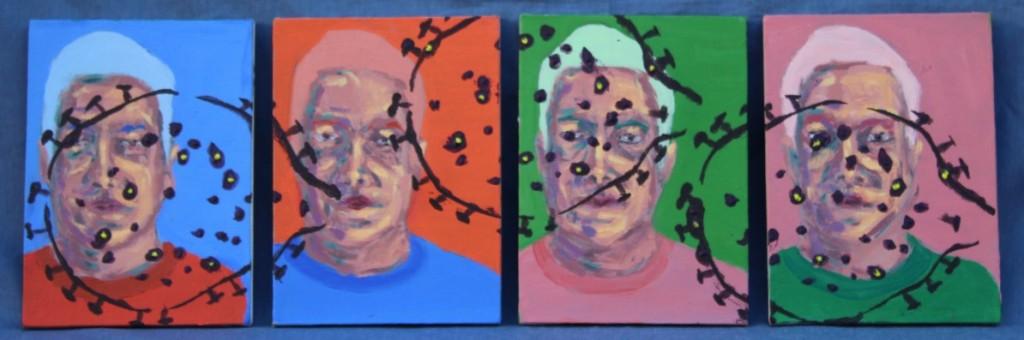 Como Parei de Ter Medo e Aprendi a Amar o Vírus, Justino, acrílico em quatro telas, 2020.