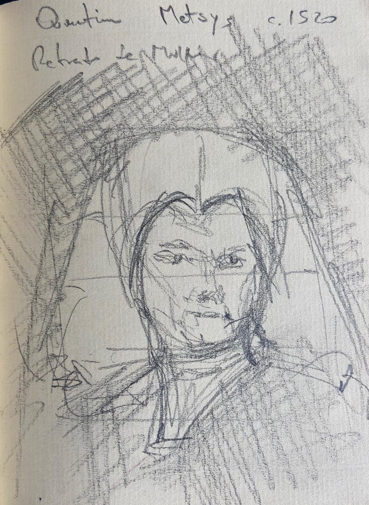 Quentin Matsys,, Retrato de Mulher, 1520, Justino, Desenho a Lápis, 2020.