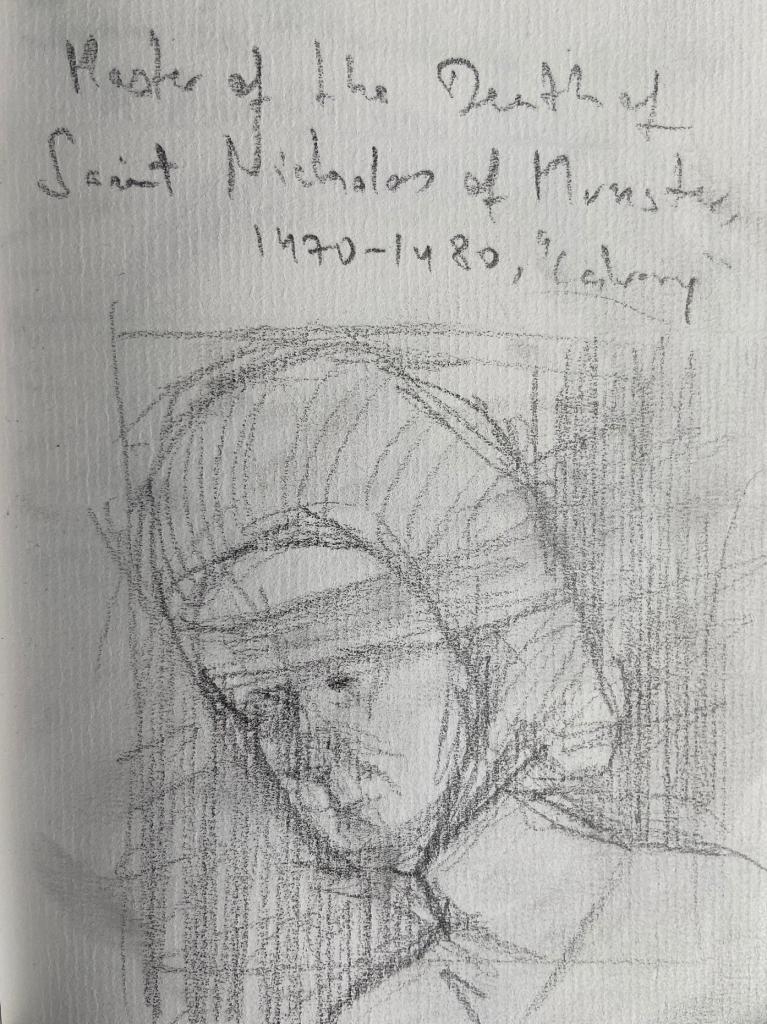 Master of the Death of Saint Nicholas of Munster, 1470,, Justino, Desenho a lápis, 2019.
