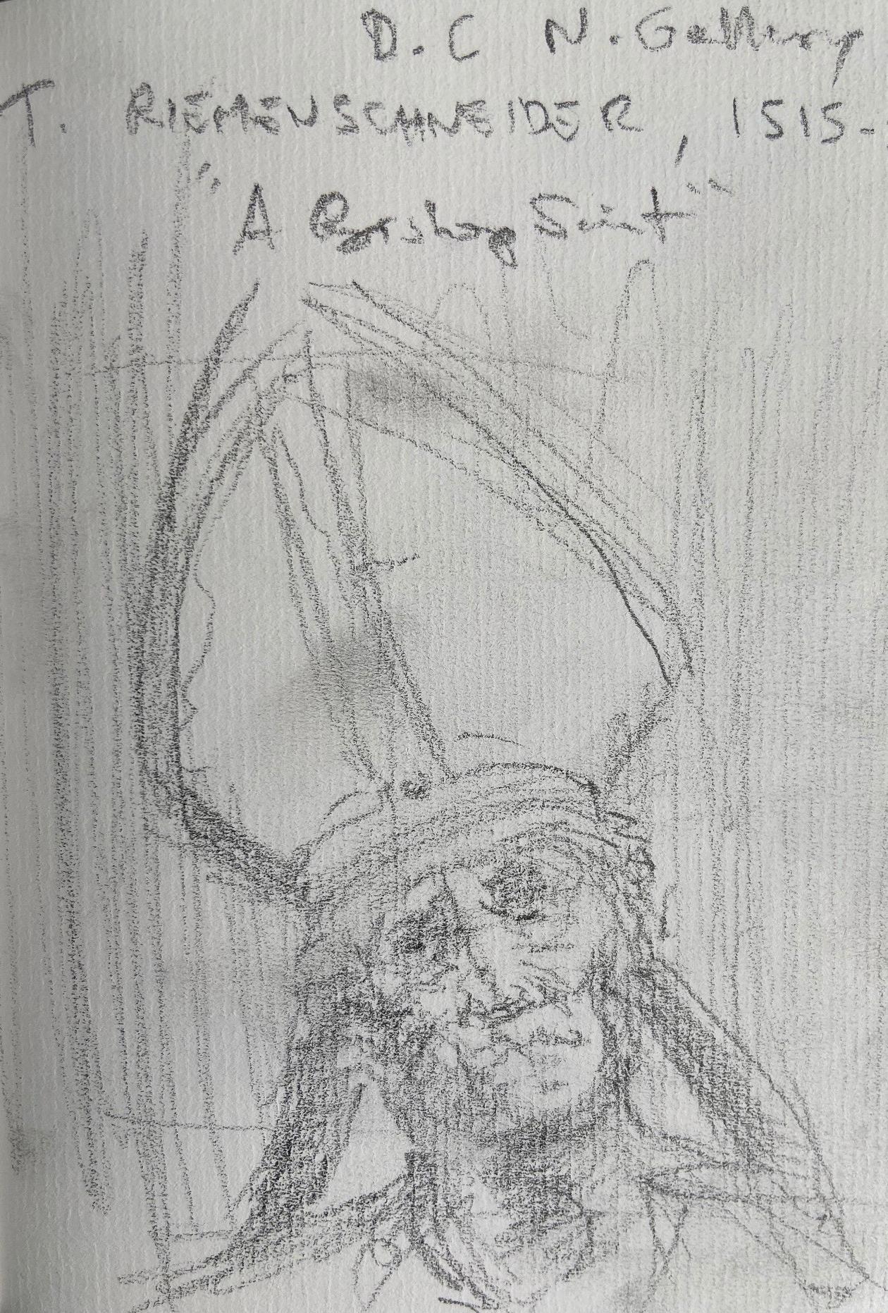 Tilman Riemenschneider, A Bishop Saint, 1515, escultura em madeira, Justino, desenho a lápis, 2019.