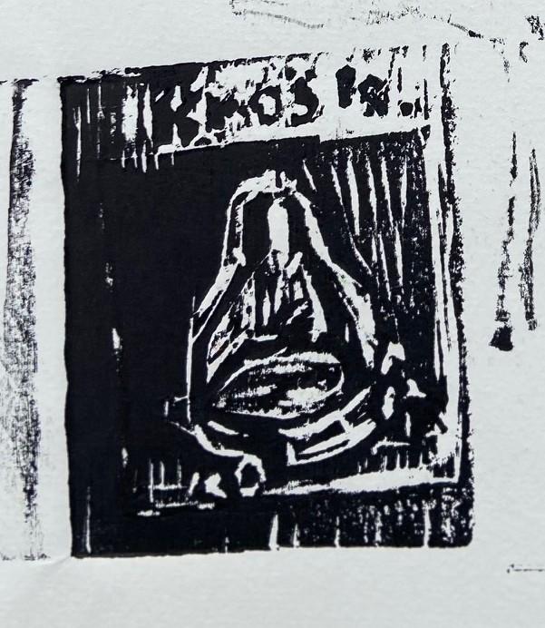 """""""A Variante Duchamp"""", Justino, xilogravura, 2020."""