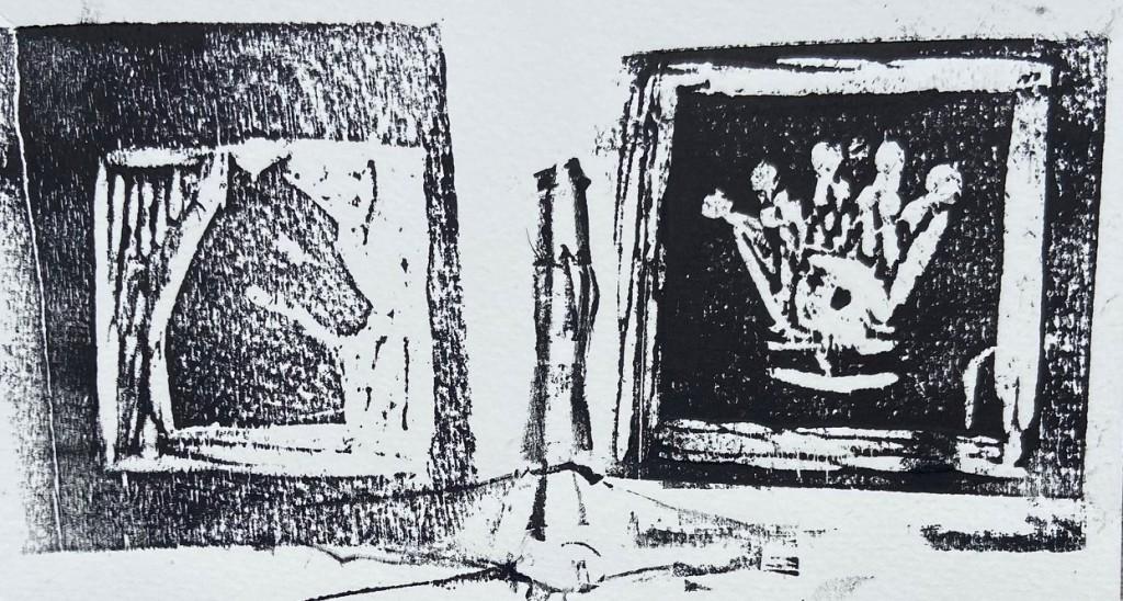 """""""O Dilema de Beth Harmon - 6: Dama e o Caval(heir)o"""", Justino, xilogravura, 2020."""