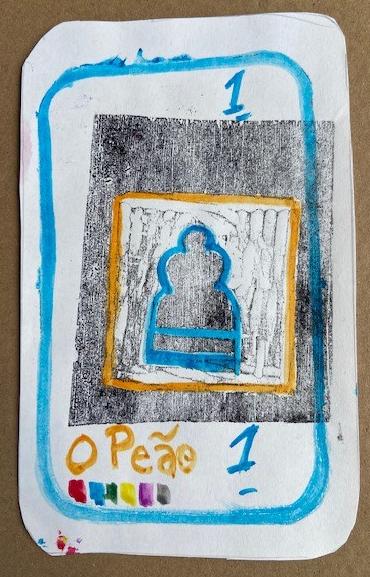 """""""O Peão"""", Justino, xilogravura e guache em papel, 2020."""