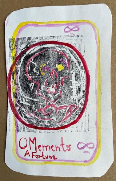 """""""O Memento Mori"""", Justino, xilogravura e guache, 2020."""