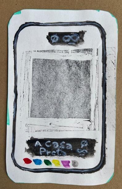 """""""A Casa Preta"""", Justino, xilografia e guache, 2020."""