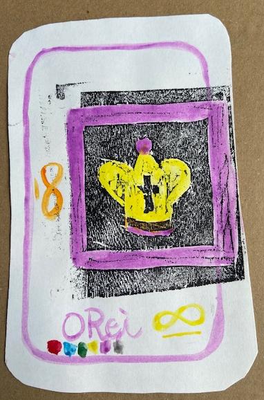 """O Rei"", Justino, xilogravura e guache em papel, 2020."