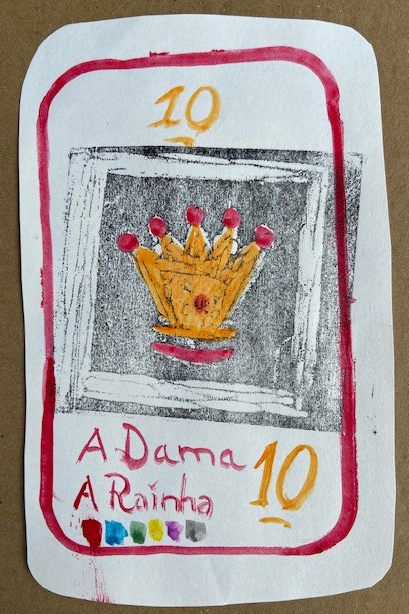 """A Dama"", Justino, xilogravura e guache em papel, 2020."